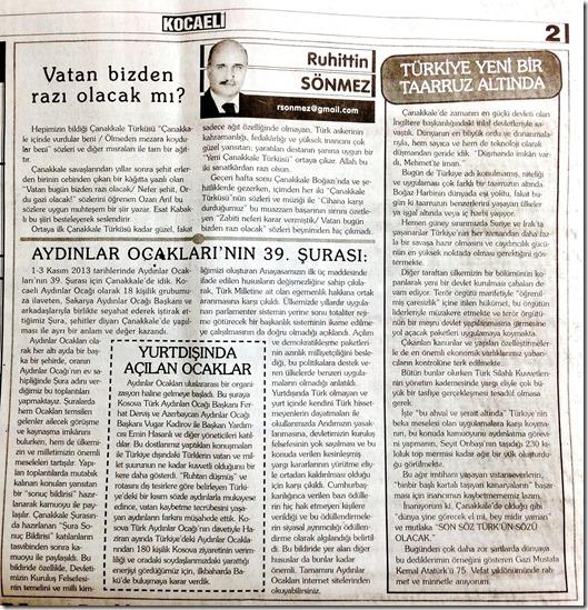 20131112 Kocaeli Gazetesi R. Sönmez yazısı