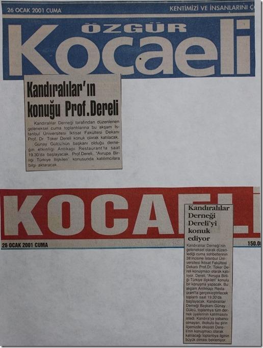 2001.01.26 kocaeli gazeteleri cuma